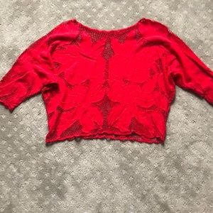 Red vintage embroidered blouse